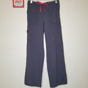 Cross-Flex Gray Hot Pink Boot Cut Cargo Pants
